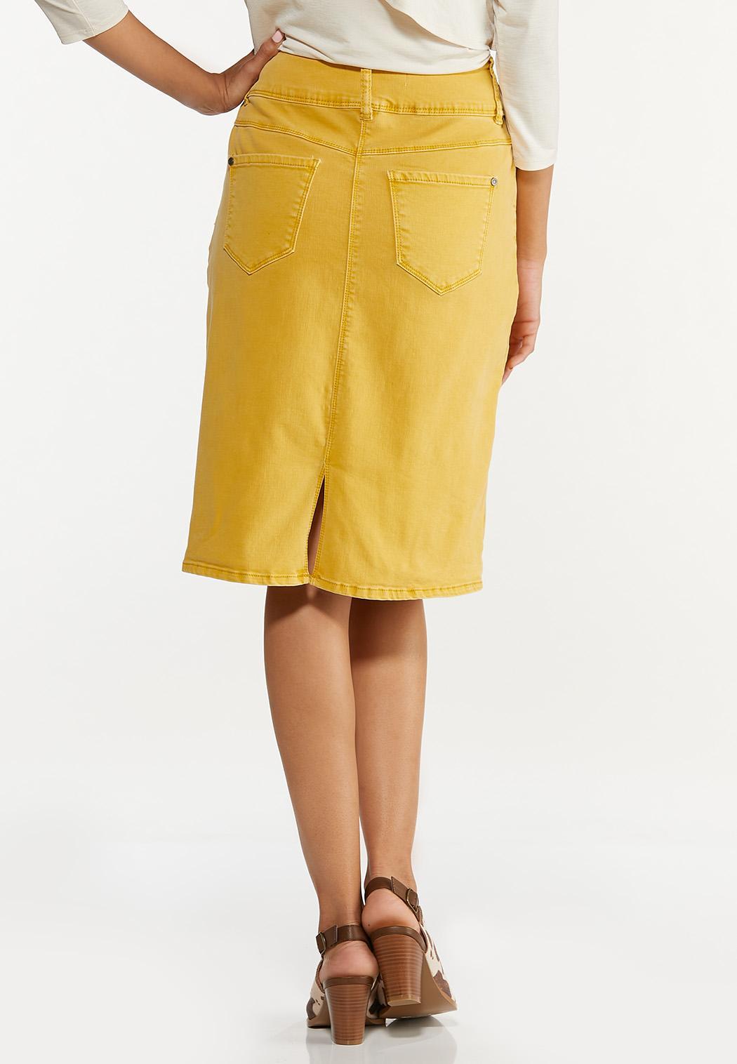 Plus Size Gold Denim Skirt (Item #44644099)
