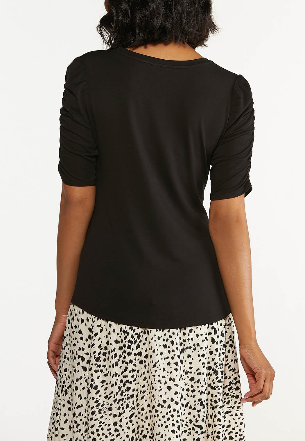 Plus Size Solid Ruched Sleeve Tee (Item #44644259)