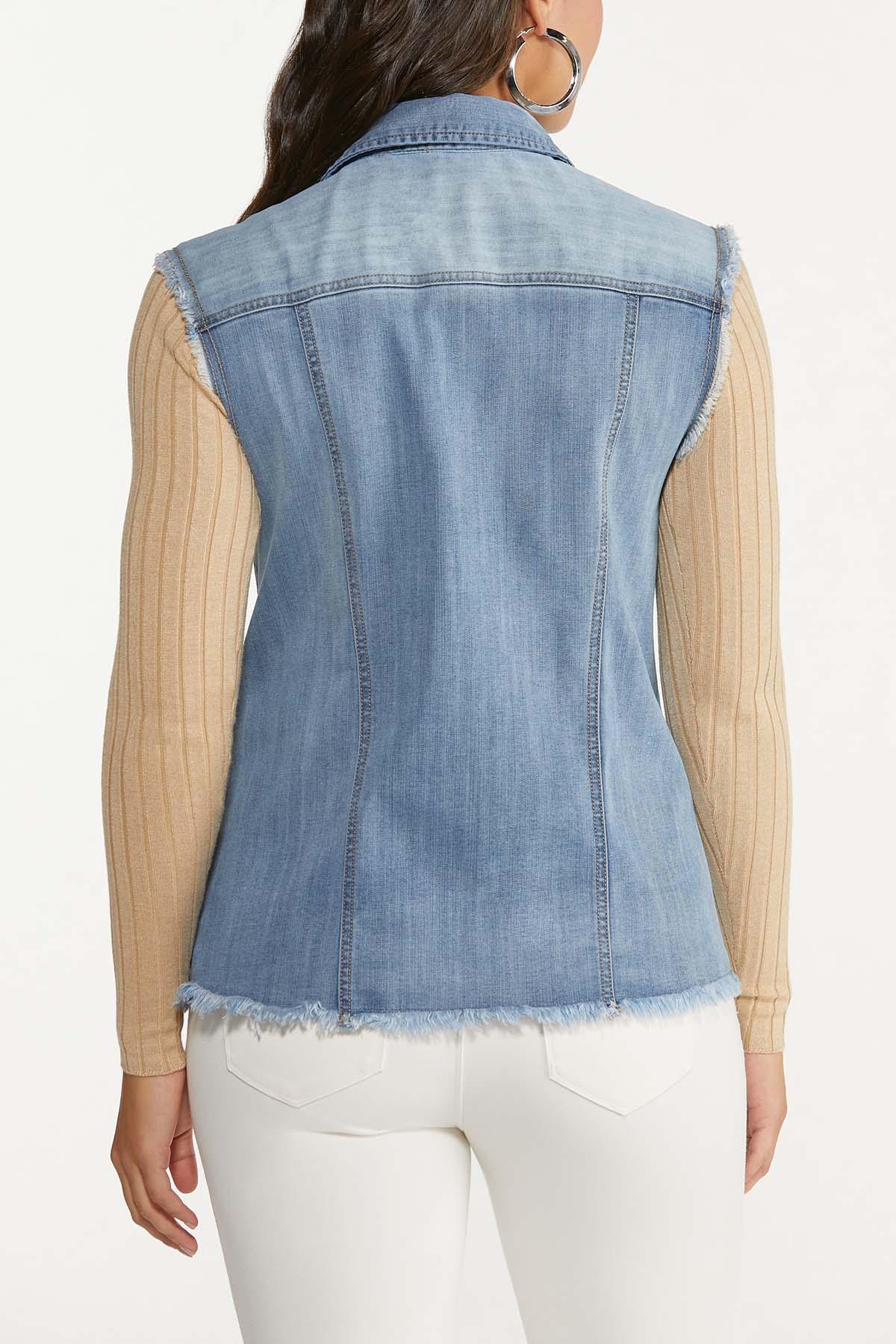 Plus Size Frayed Denim Vest (Item #44644296)