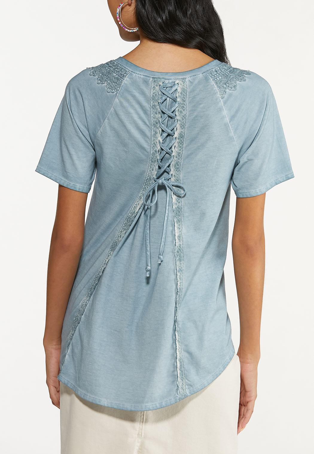 Plus Size Lace Trim High-Low Tee (Item #44644322)
