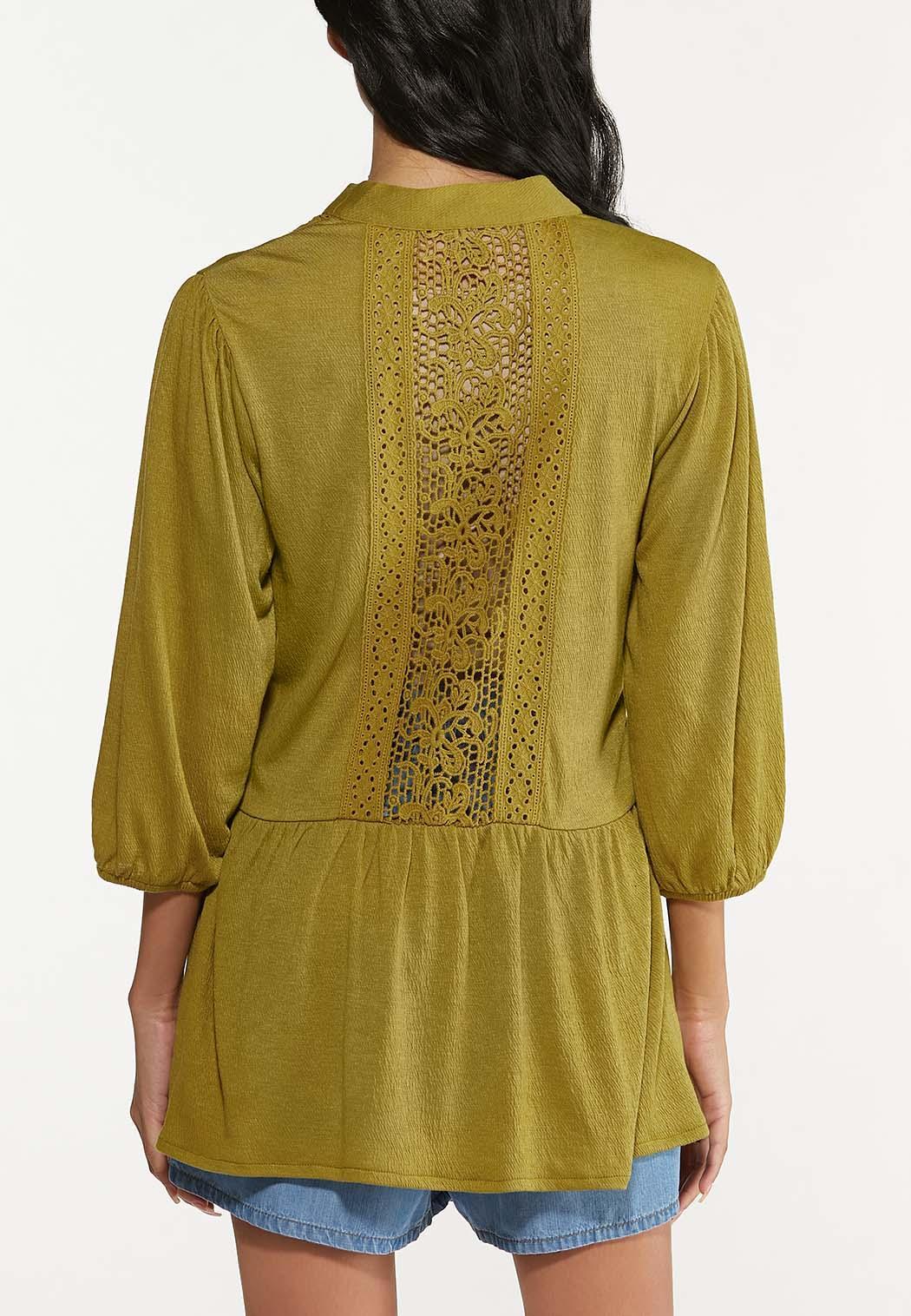 Plus Size Olive Crochet Cardigan (Item #44644479)