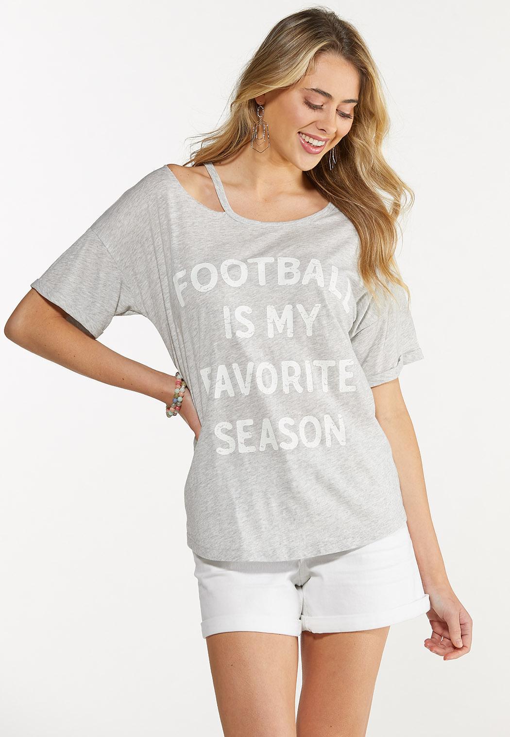 Plus Size Football Season Cold Shoulder Tee (Item #44644746)