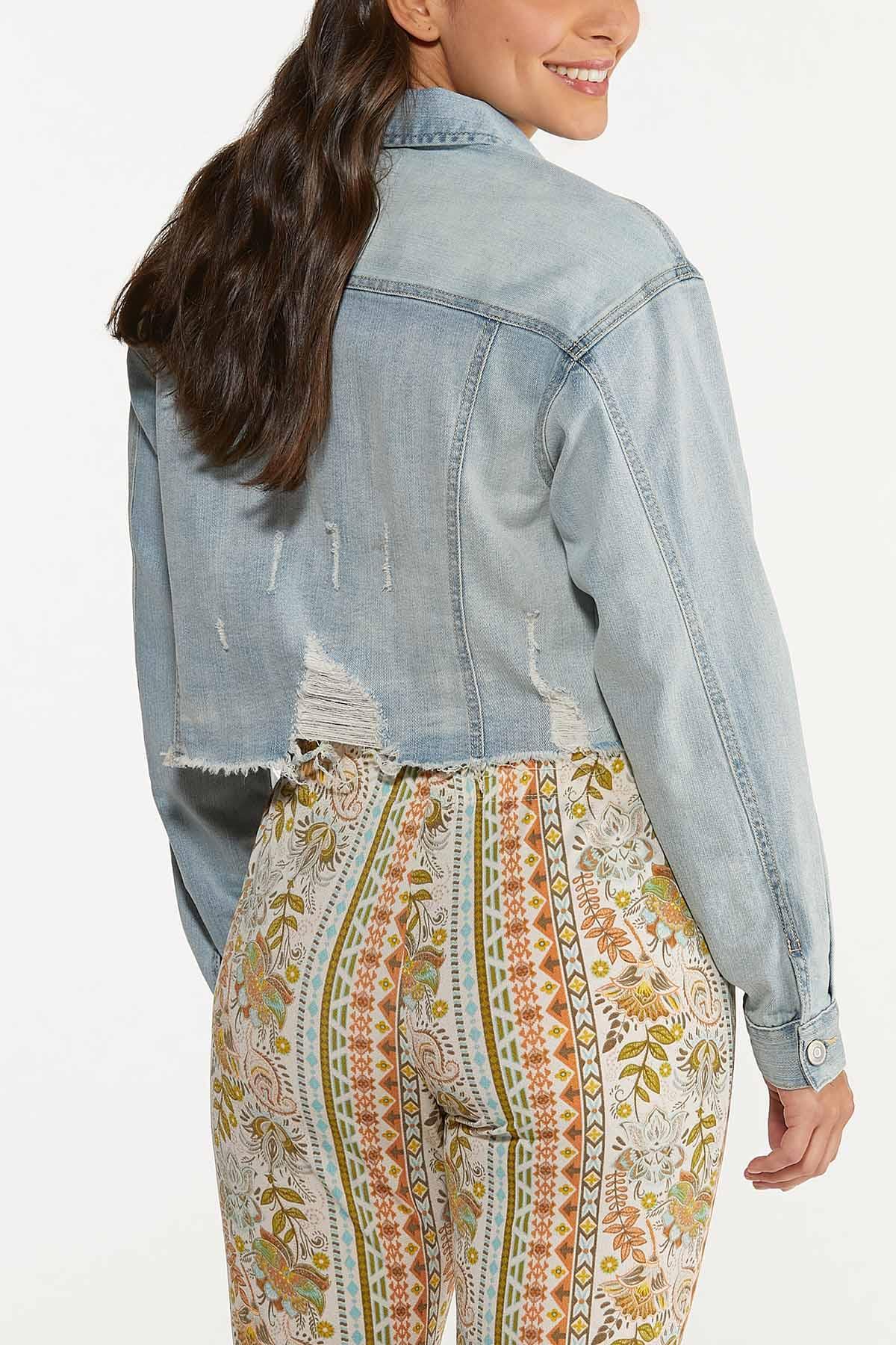 Plus Size Cropped Distressed Denim Jacket (Item #44644796)