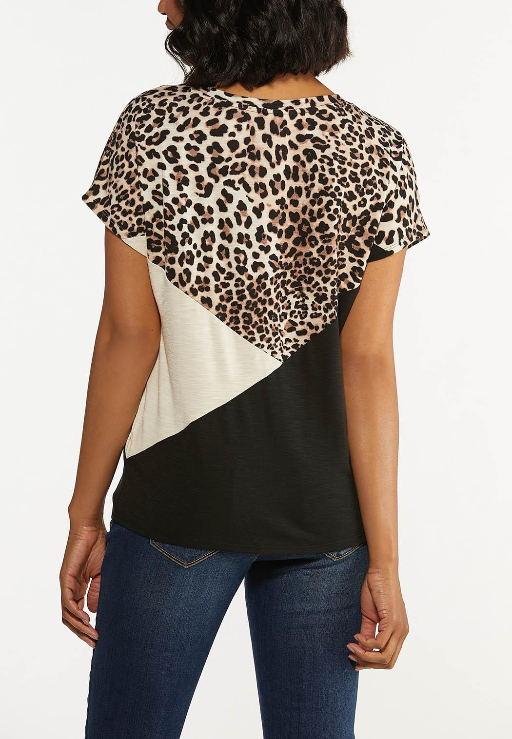 Plus Size Leopard Colorblock Tie Tee (Item #44645317)