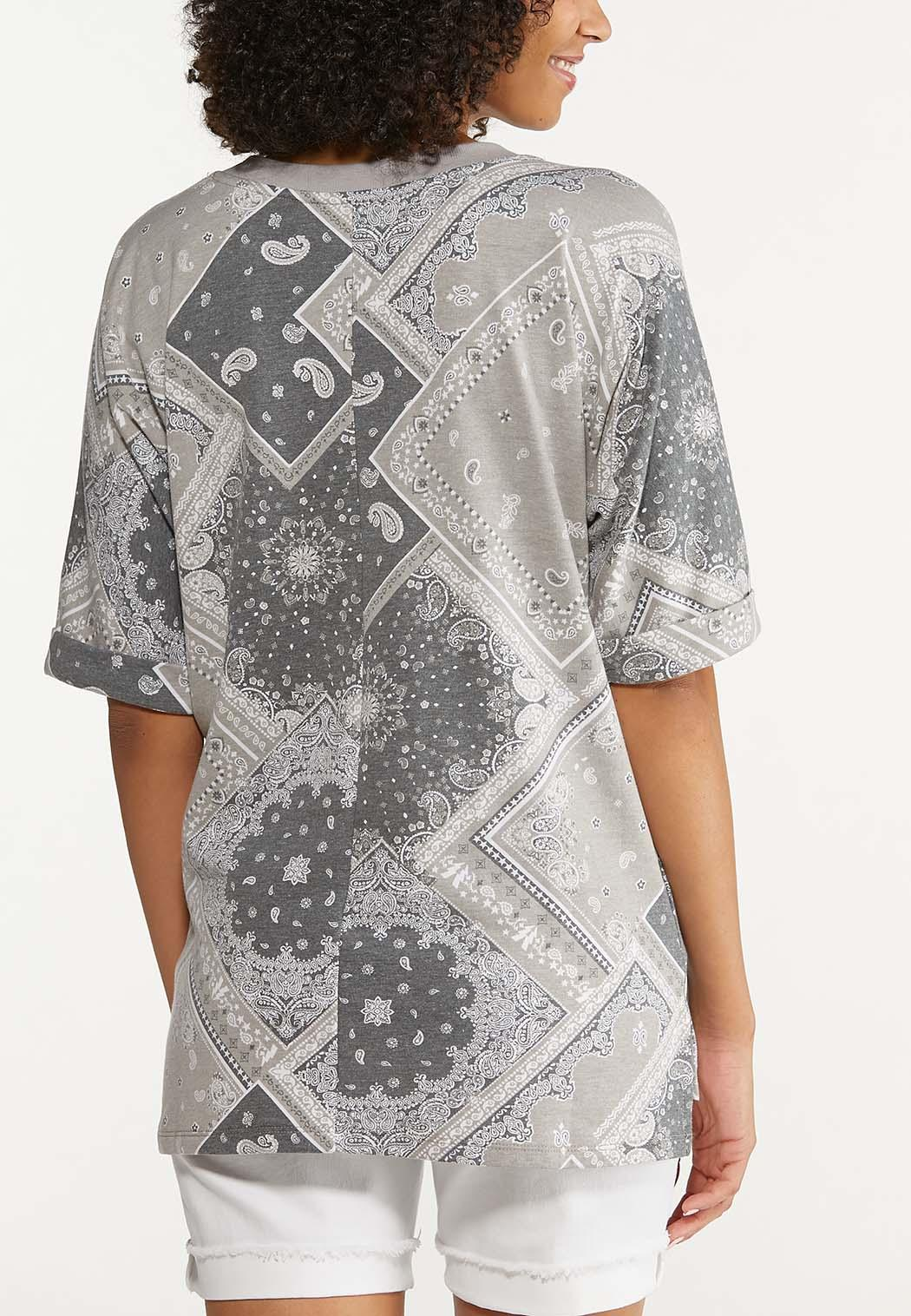 Plus Size Distressed Bandana Sweatshirt (Item #44645359)