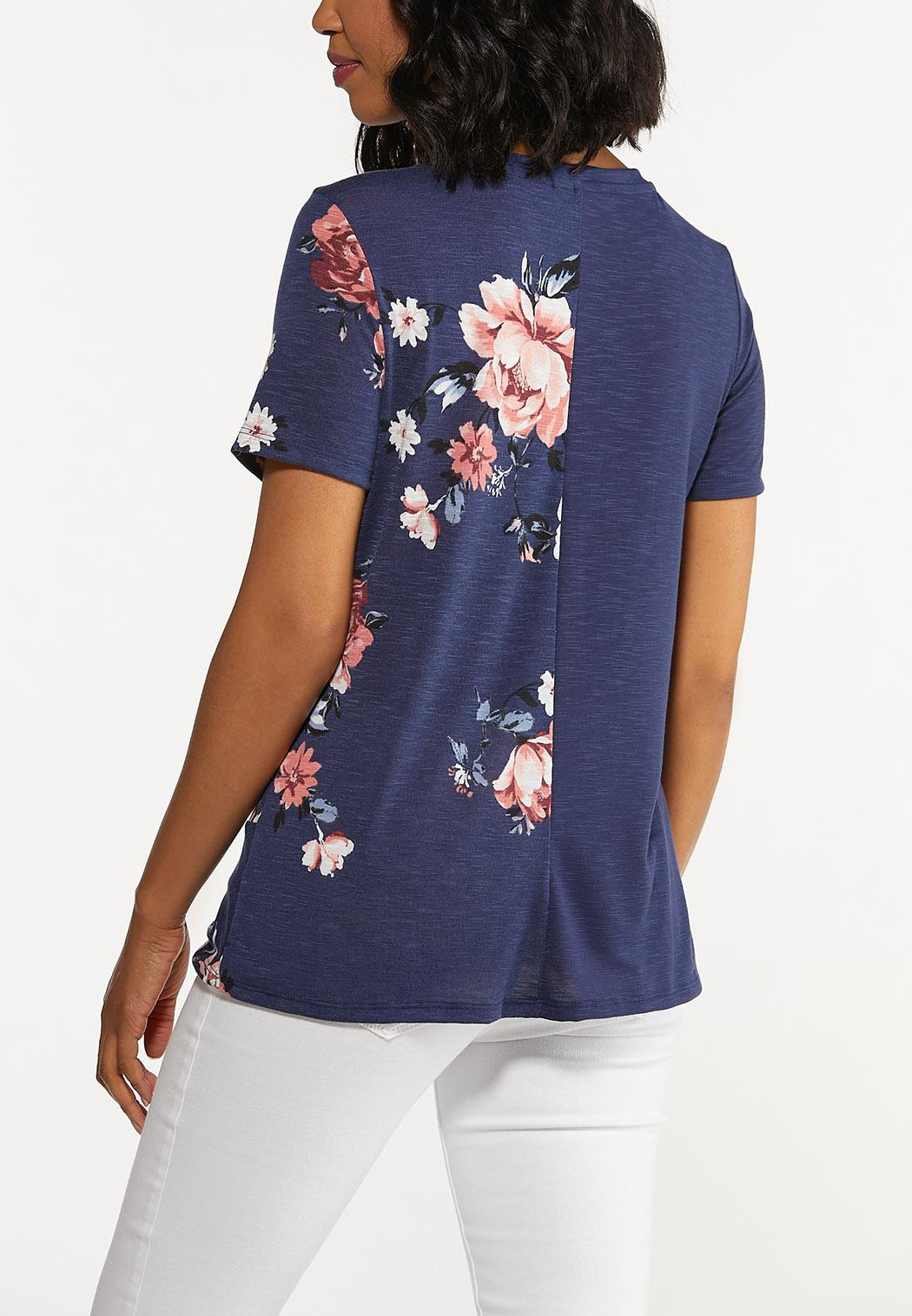 Plus Size Twisted Floral Tee (Item #44645388)
