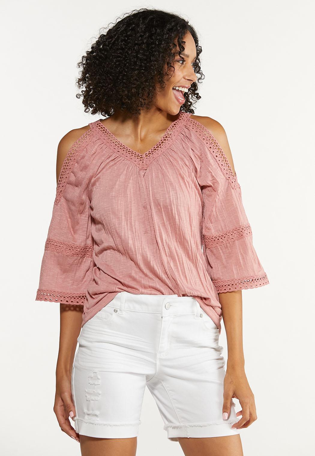Plus Size Crinkled Cold Shoulder Top (Item #44645416)
