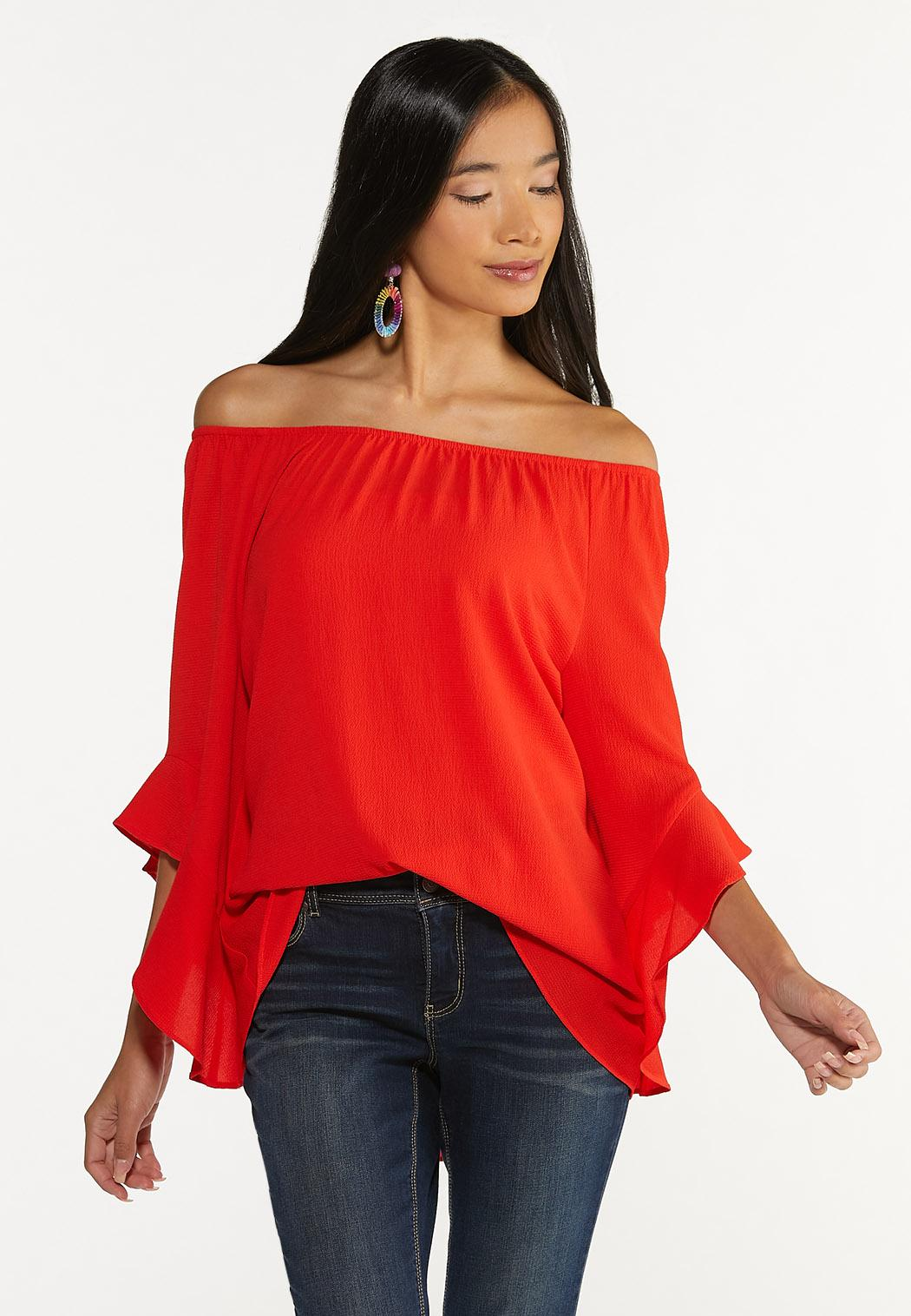 Plus Size Crepe Tiered Sleeve Top (Item #44645762)