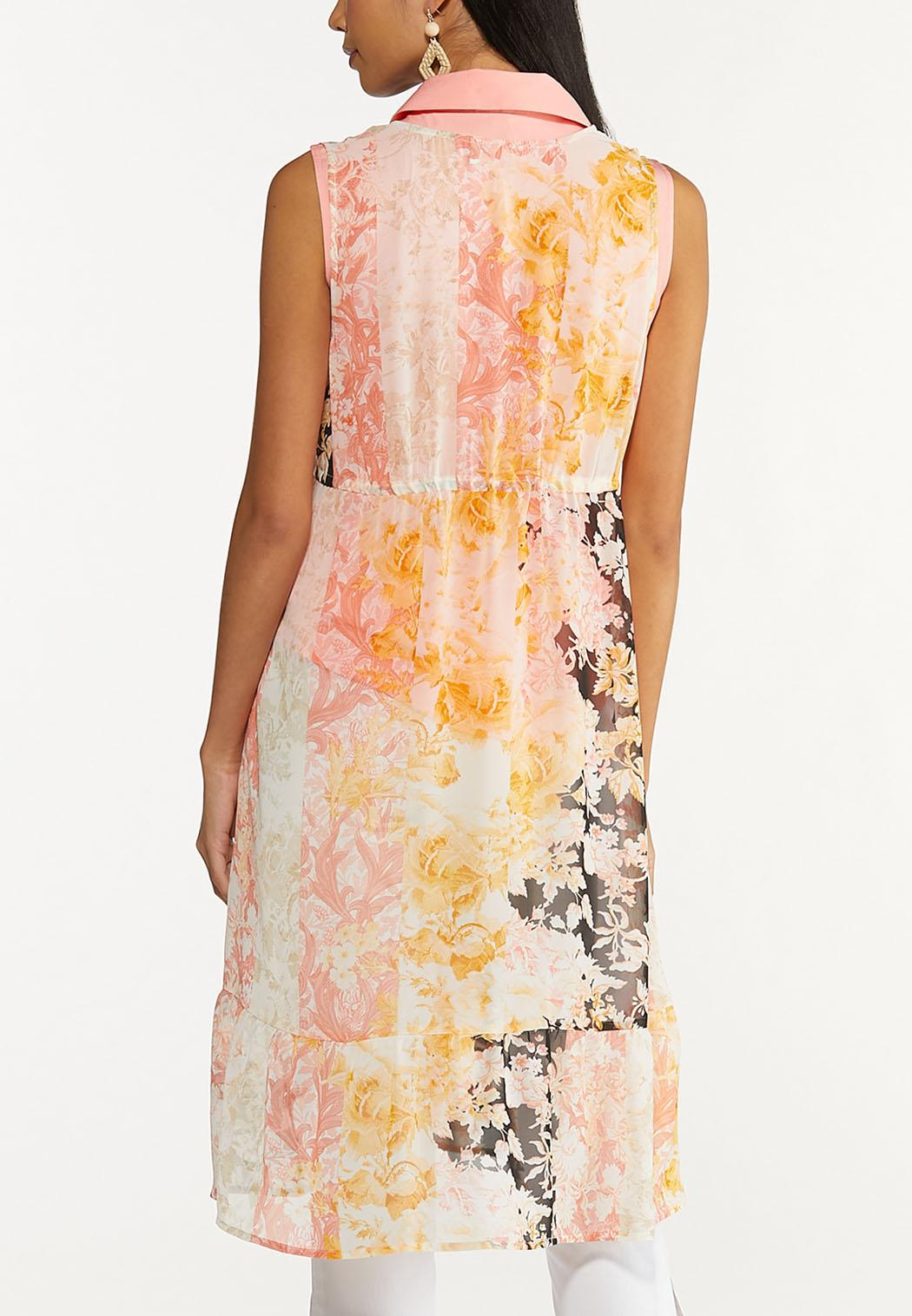 Plus Size Coral Floral Tie Front Vest (Item #44645903)