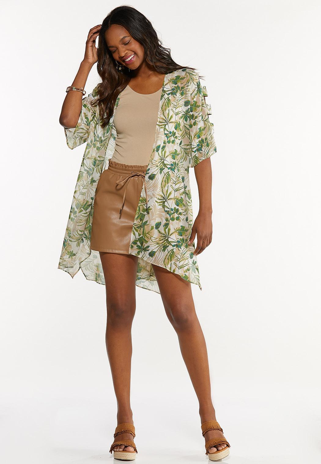 Plus Size Palm Leaf Kimono (Item #44645945)