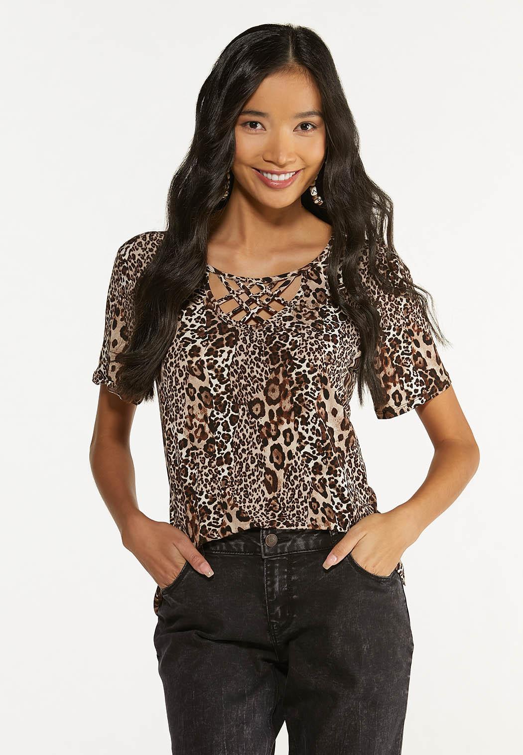 Plus Size Leopard Lattice Neck Tunic (Item #44645985)