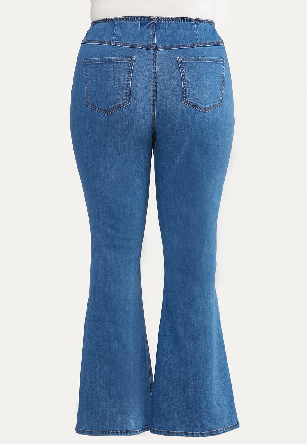 Plus Size Pull-On Flare Jeans (Item #44646293)