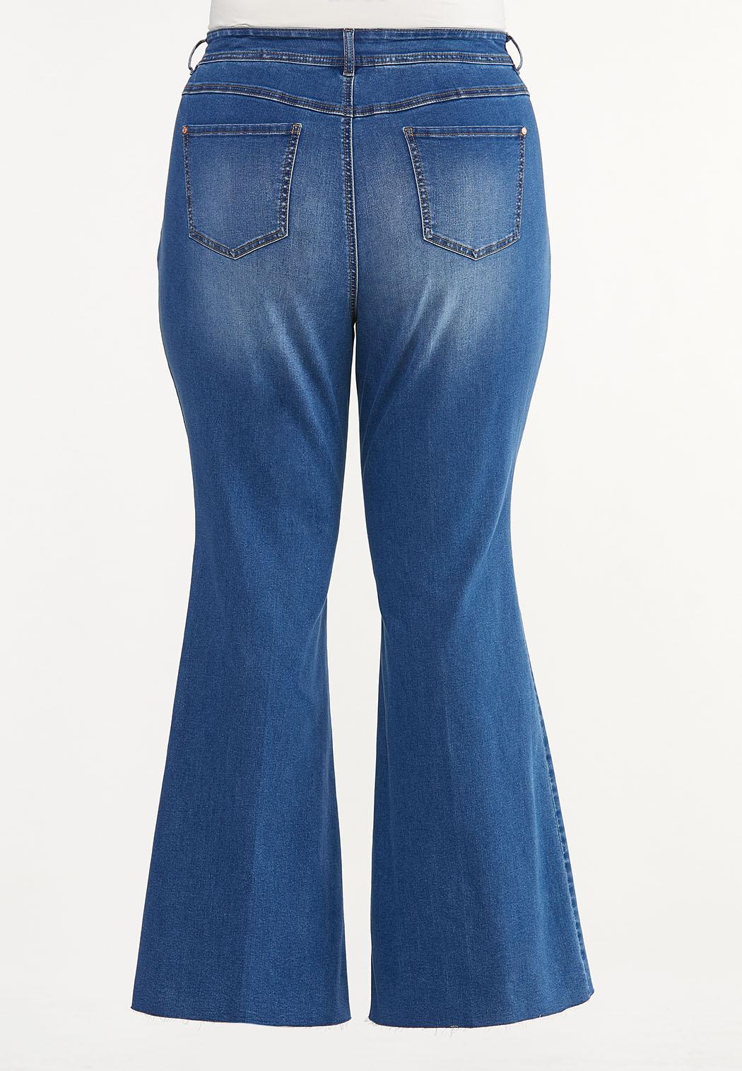 Plus Size Raw Edge Flare Jeans (Item #44646330)