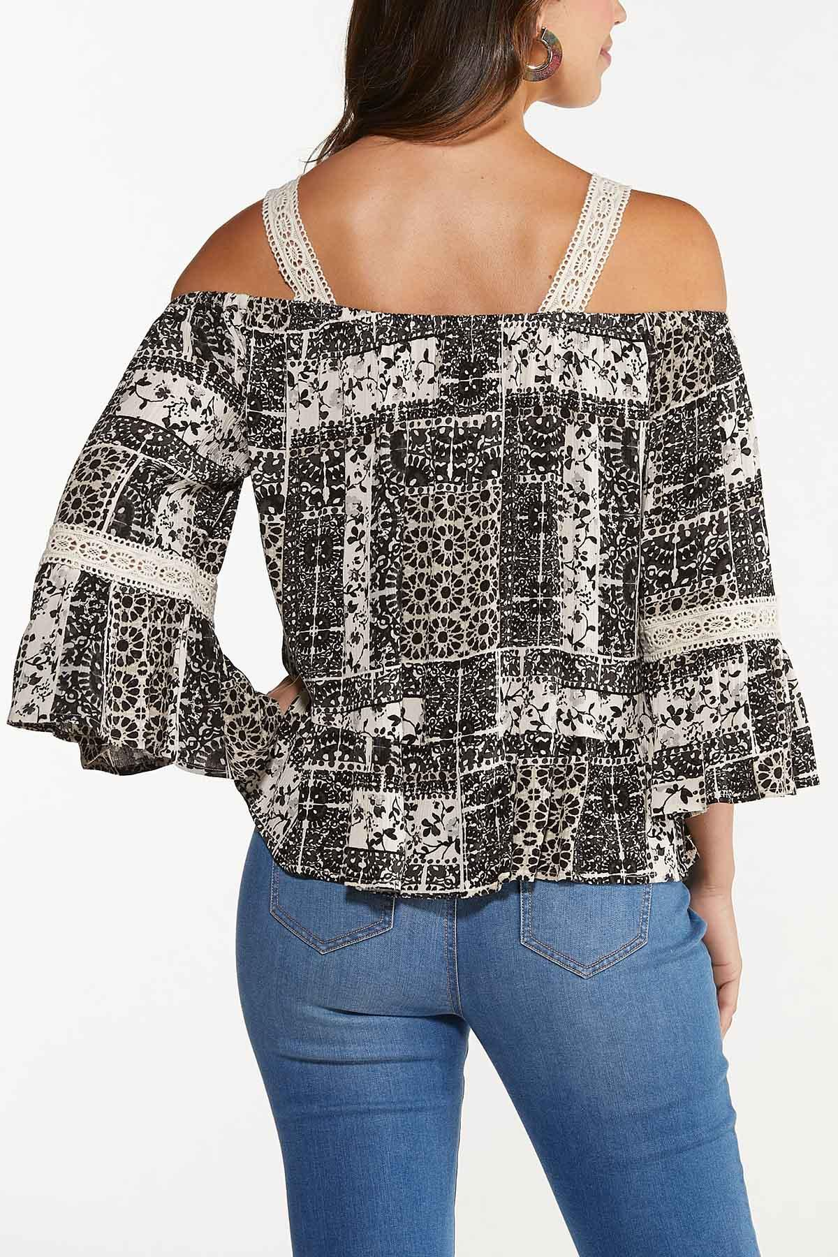 Plus Size Crochet Trim Poet Top (Item #44646710)
