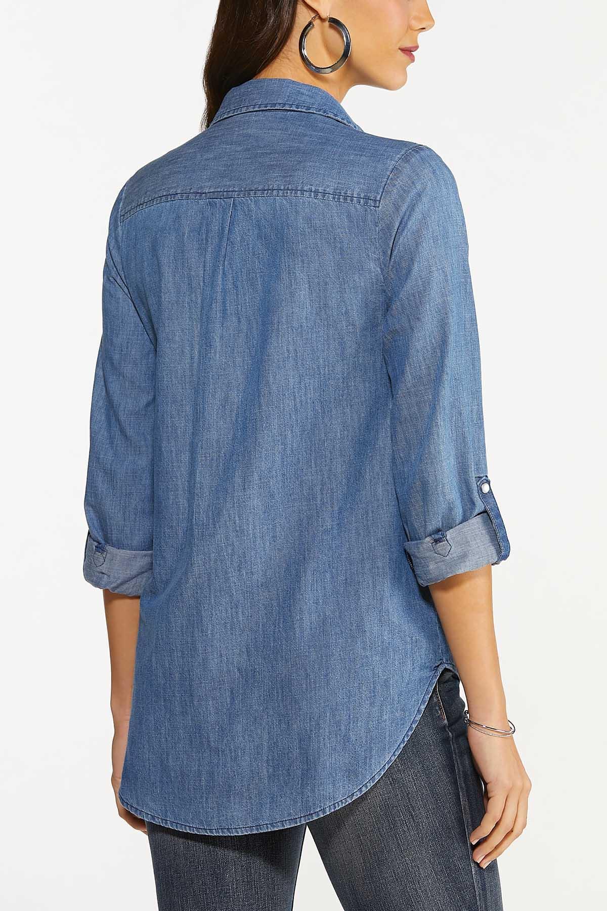 Plus Size Medium Wash Denim Shirt (Item #44646763)