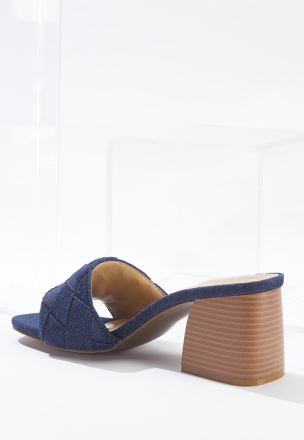 Denim Heeled Slide Sandals (Item #44647649)