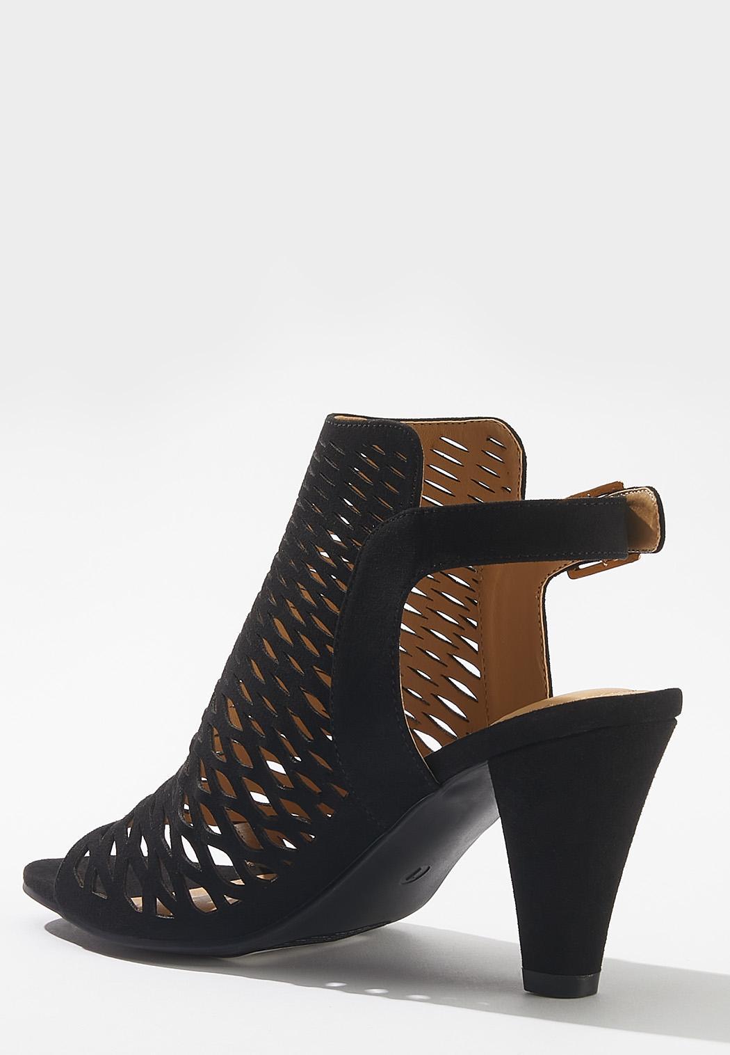 Open Toe Laser Cut Heels (Item #44647886)