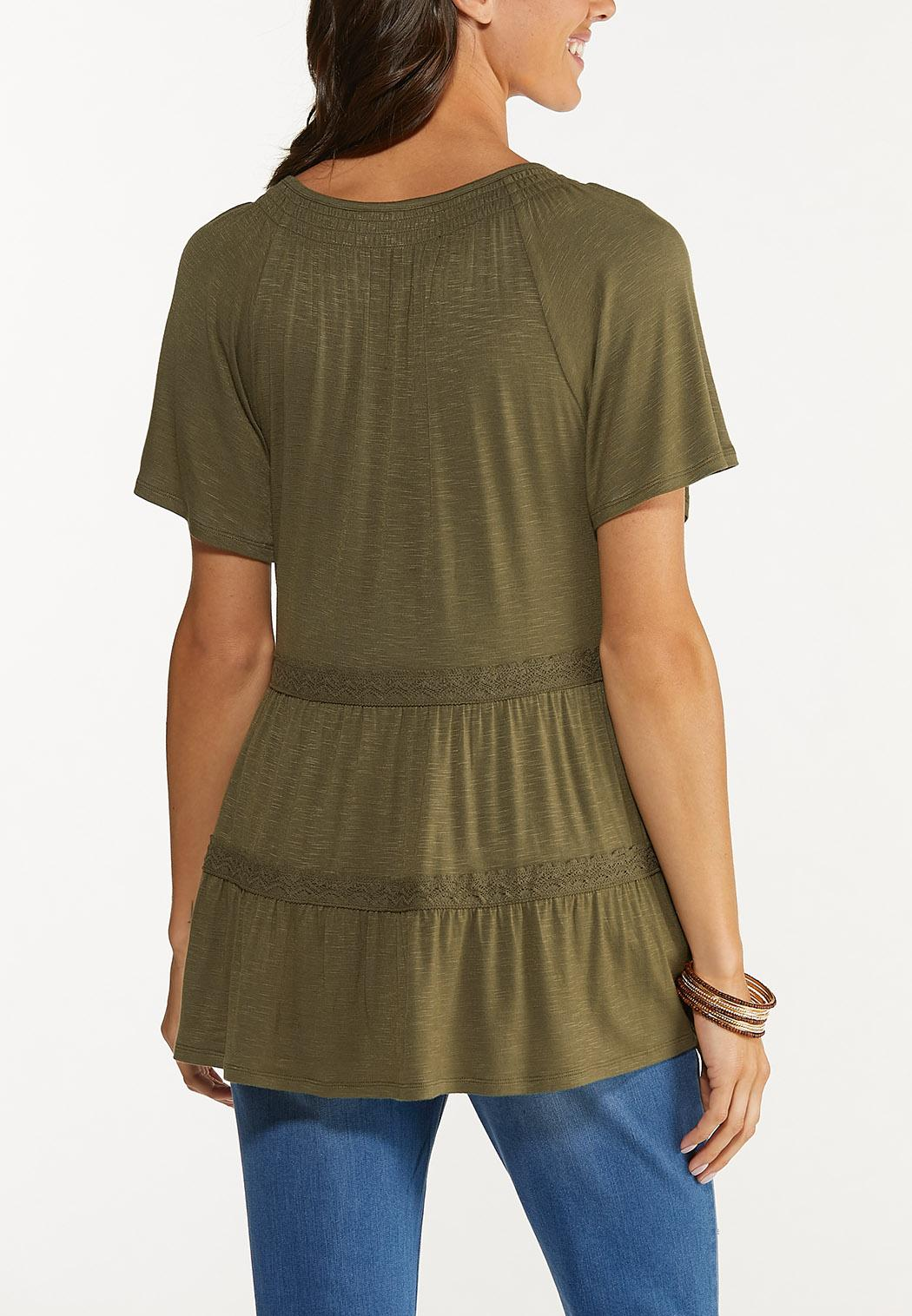 Plus Size Olive Tiered Top (Item #44648702)
