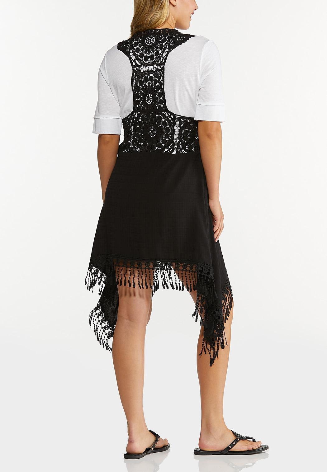 Plus Size Black Crochet Vest (Item #44648775)