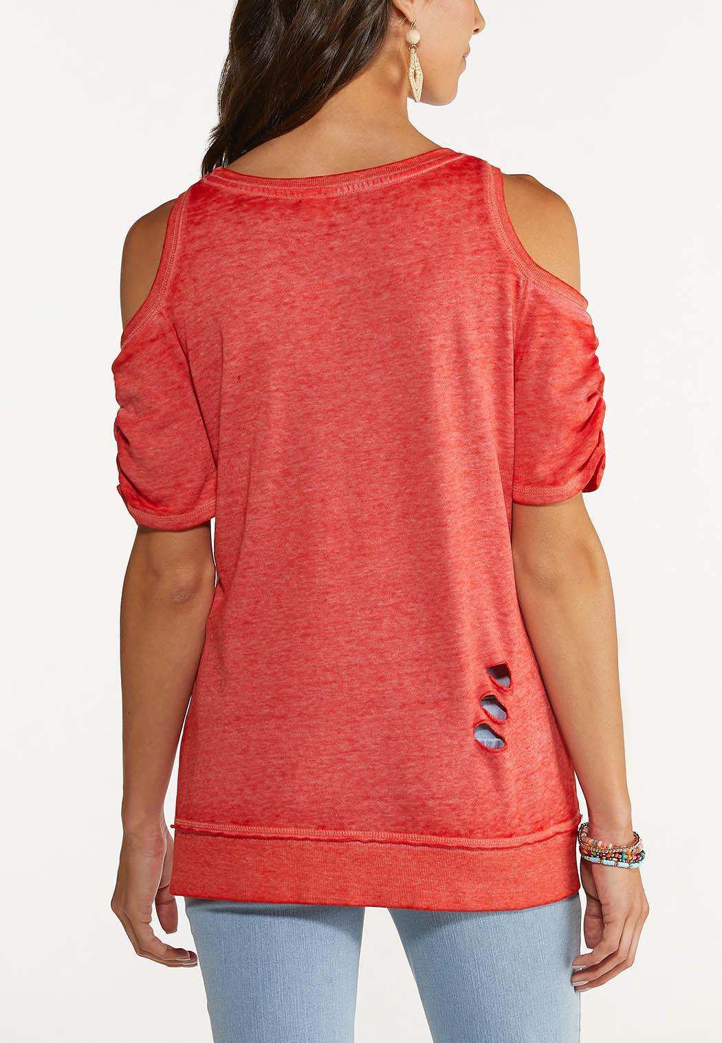 Distressed Cold Shoulder Sweatshirt (Item #44648816)