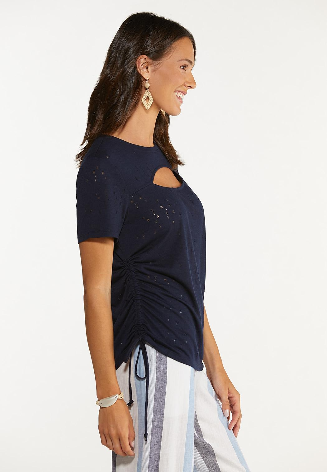 Plus Size Cutout Ruched Sleeve Tee (Item #44648867)