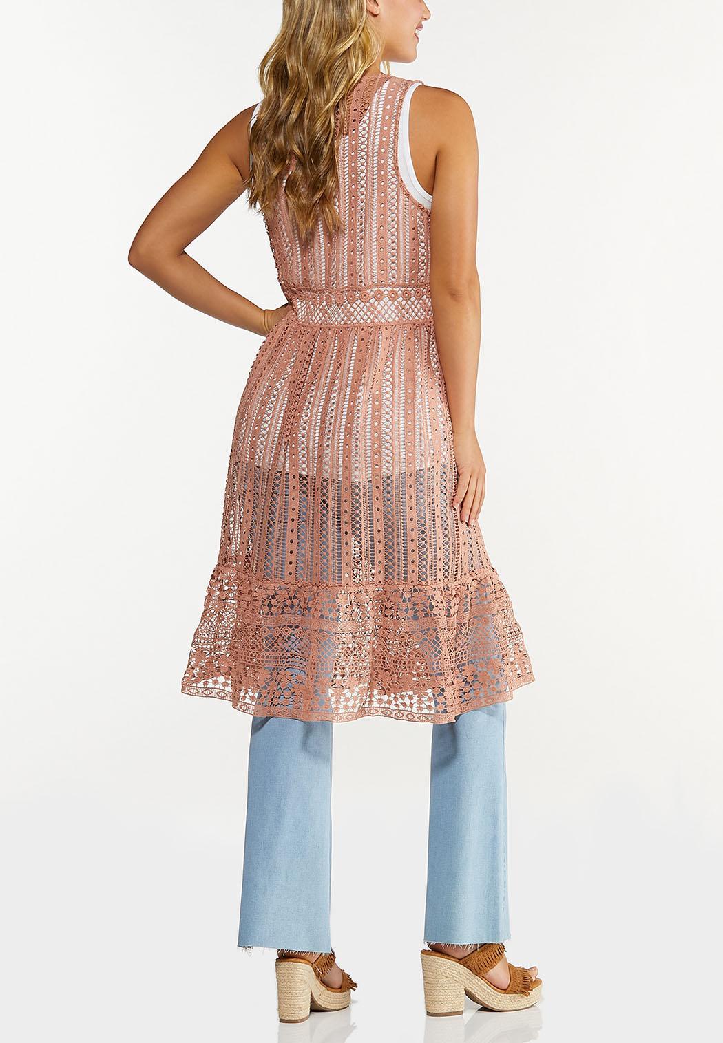 Plus Size Ruffled Crochet Vest (Item #44648956)