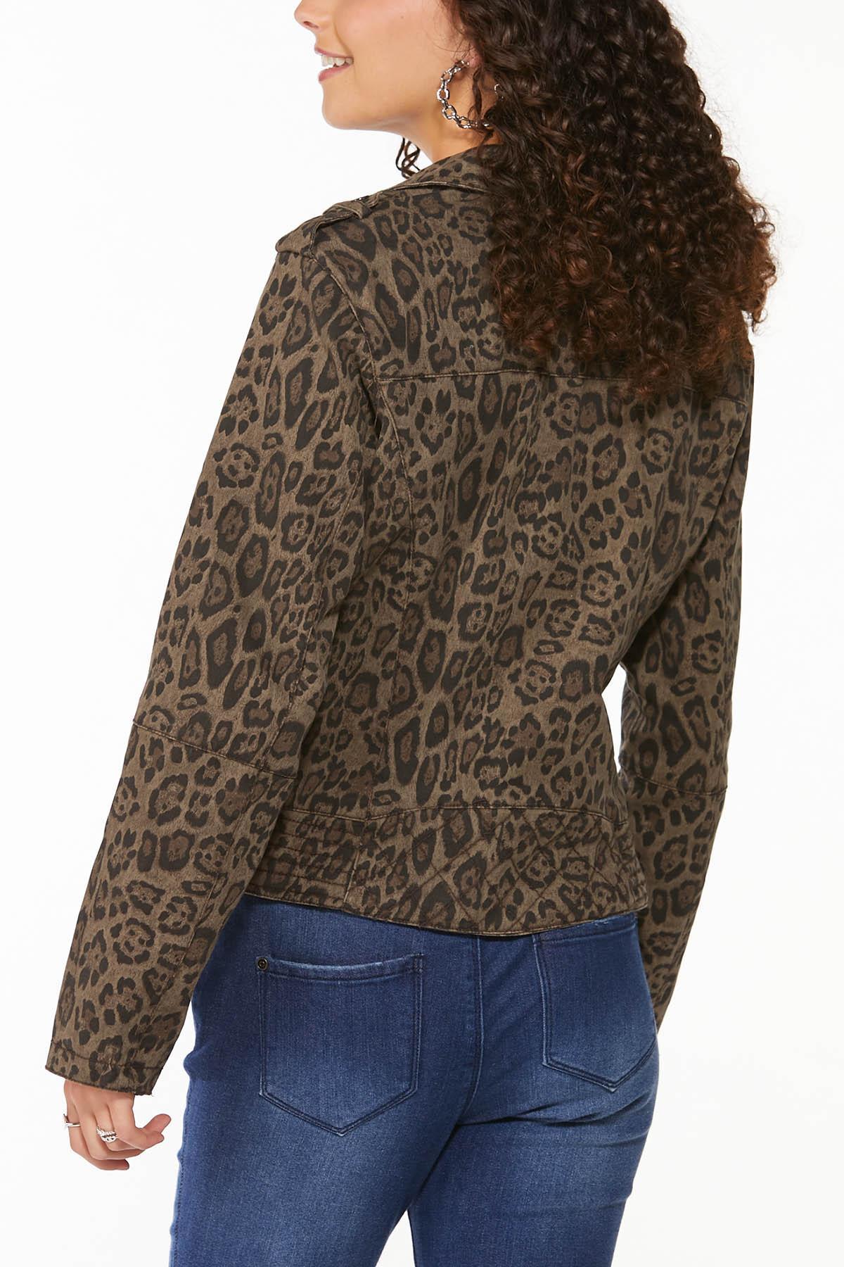 Plus Size Leopard Moto Jacket (Item #44649974)