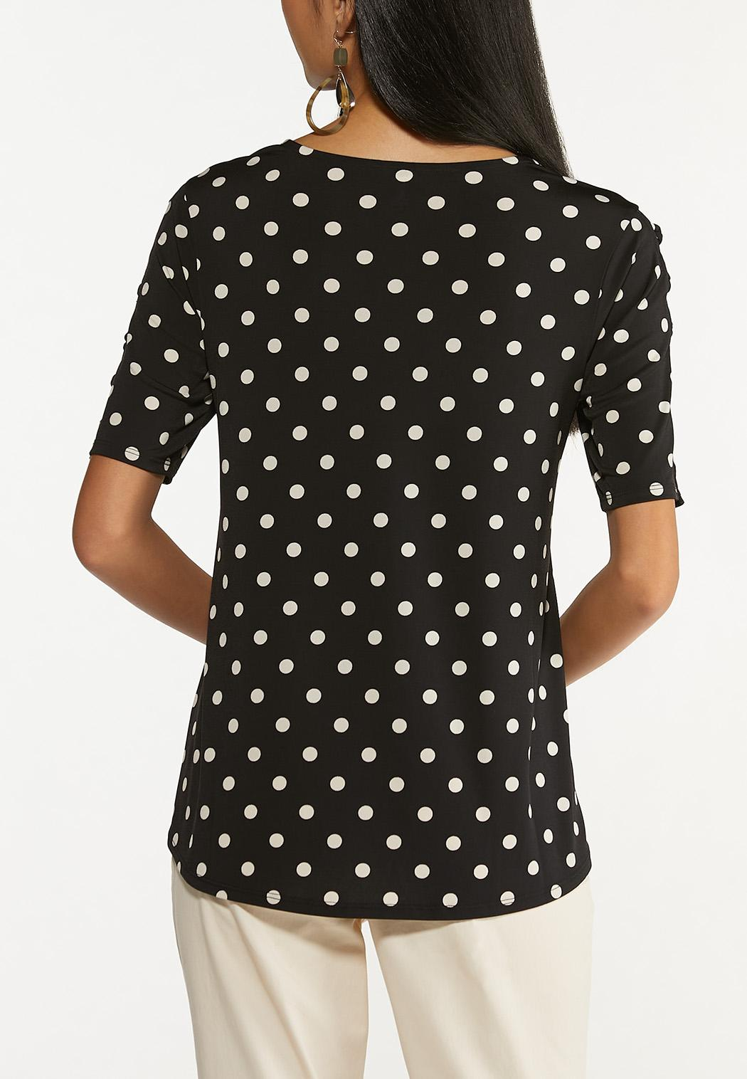Plus Size Dotted Criss Cross Top (Item #44650212)