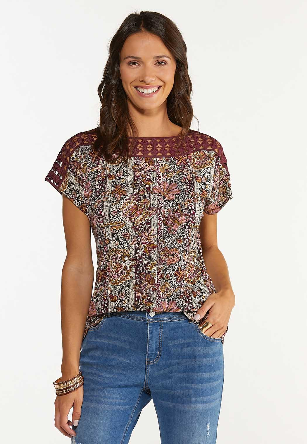 Plus Size Wine Floral Crochet Trim Top (Item #44650390)