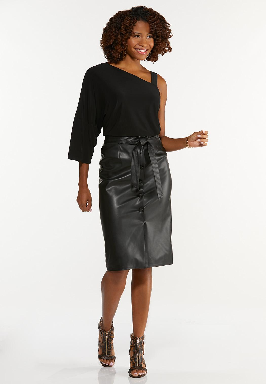 Belted Faux Leather Skirt (Item #44650509)