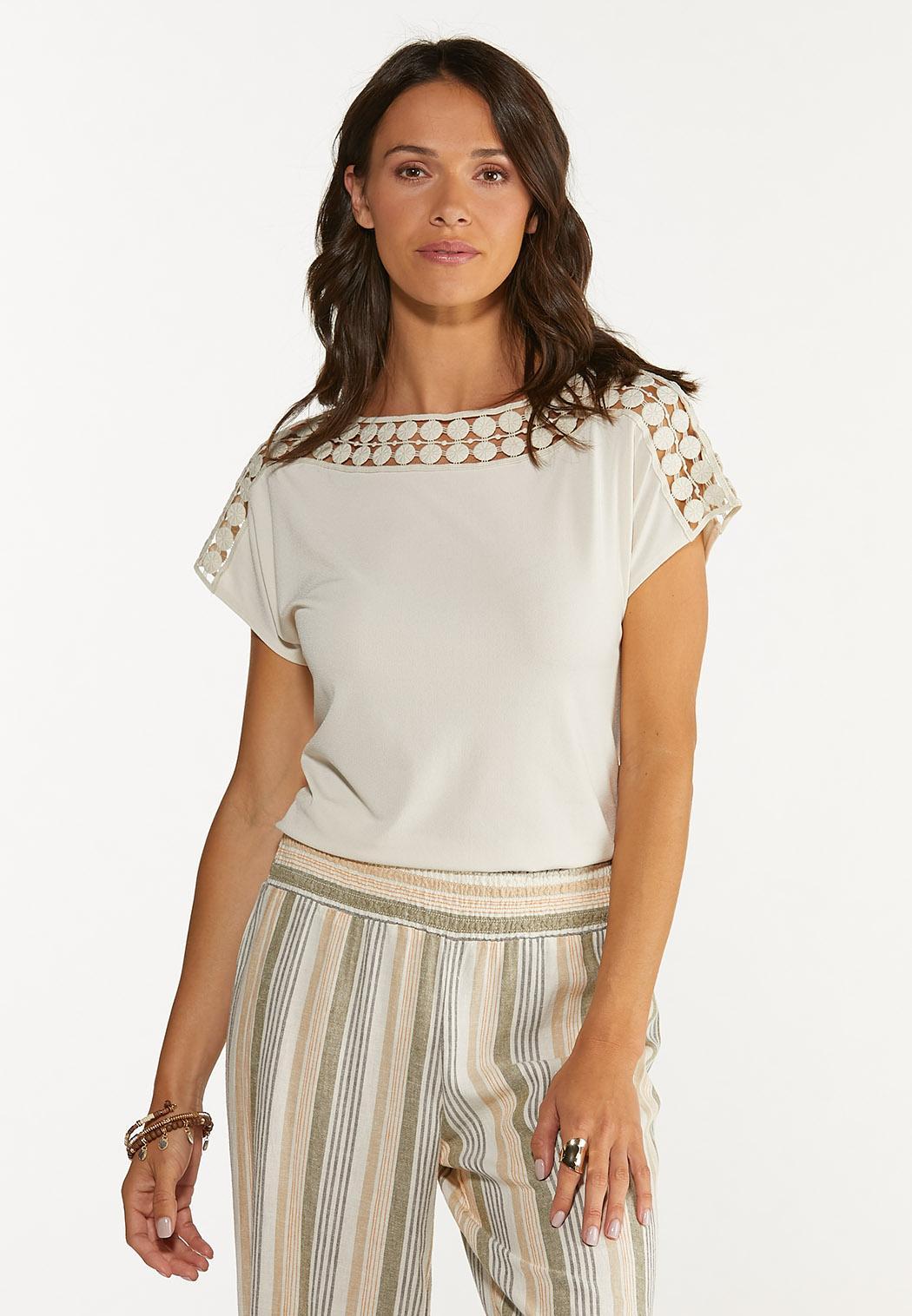 Plus Size Crochet Trim Top (Item #44650547)