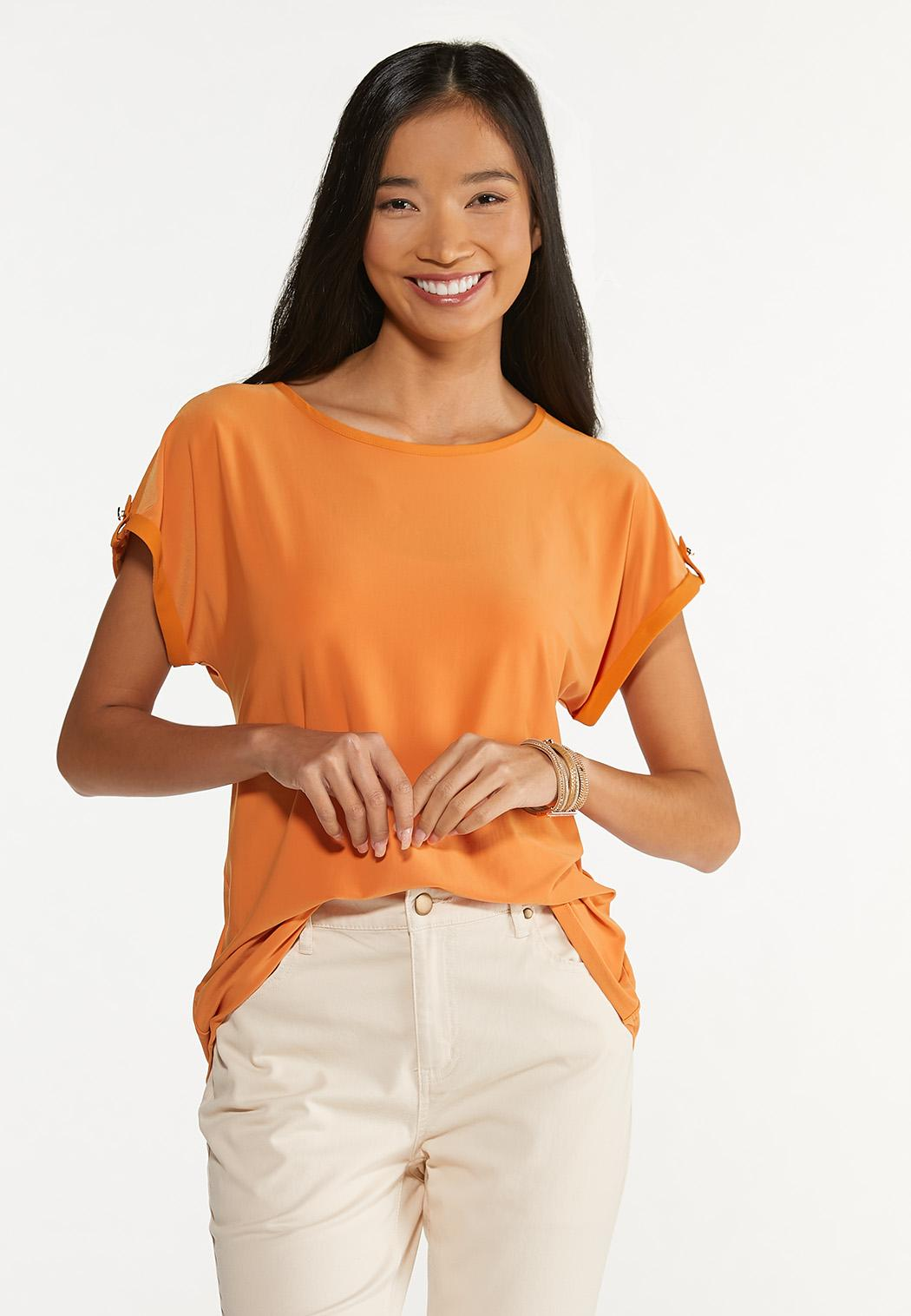 Plus Size Button Sleeve Top (Item #44650589)