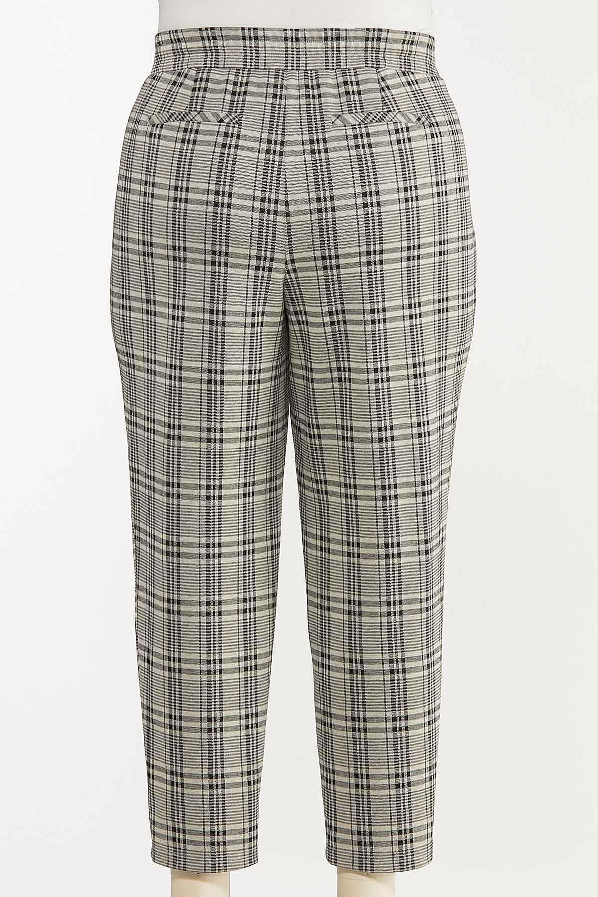 Plus Size Plaid Tie Waist Pants (Item #44651091)