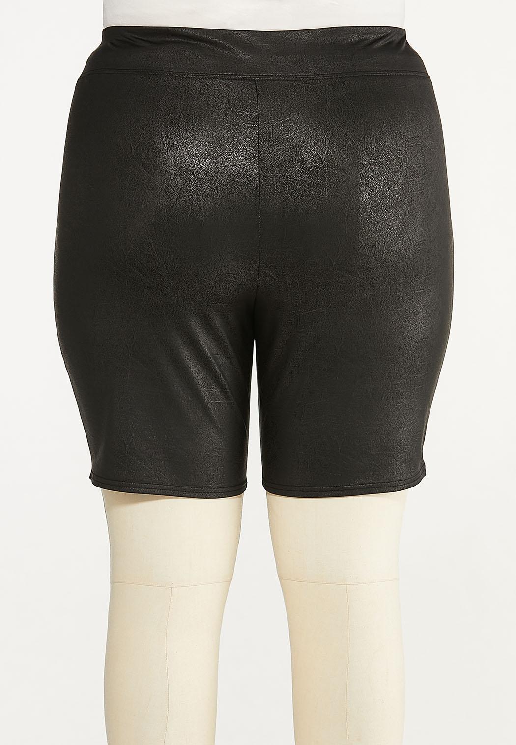 Plus Size Coated Biker Shorts (Item #44651465)