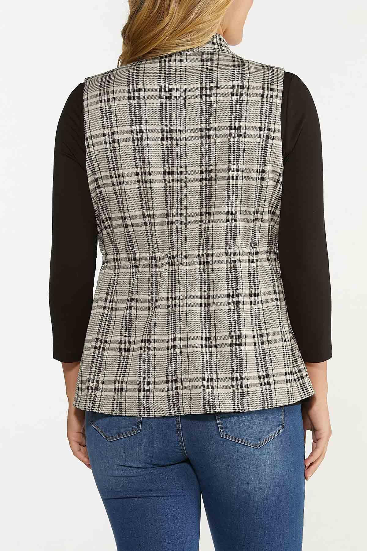 Plus Size Drawstring Plaid Vest (Item #44651852)