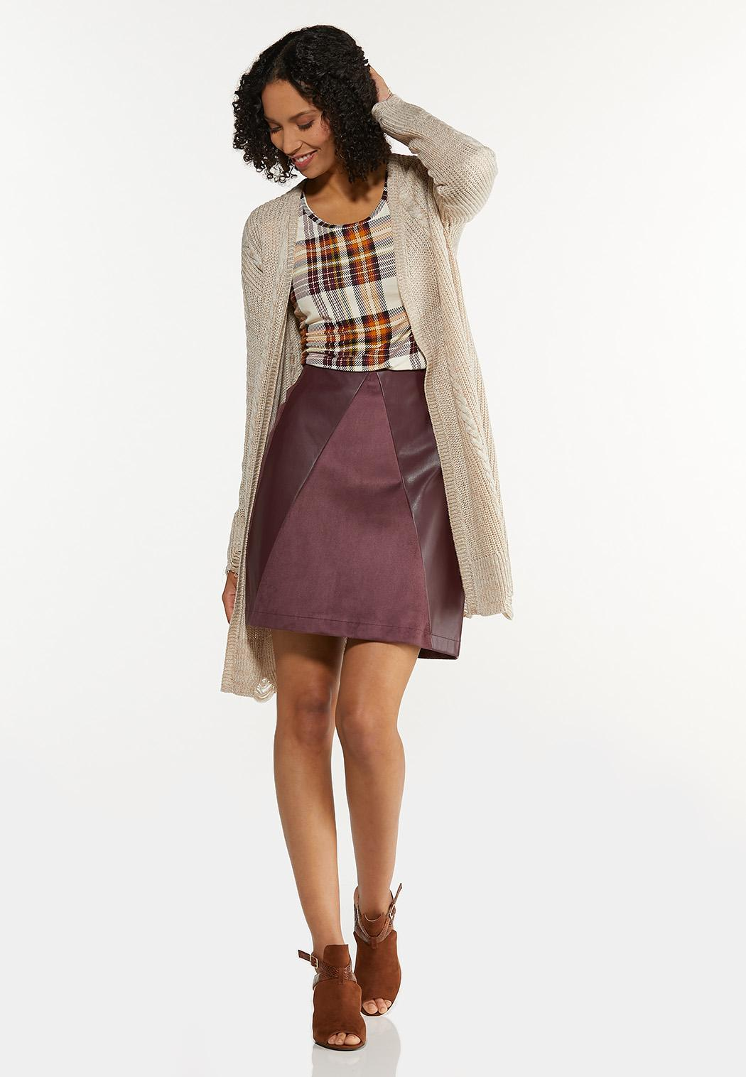 Faux Suede Leather Mini Skirt (Item #44652140)
