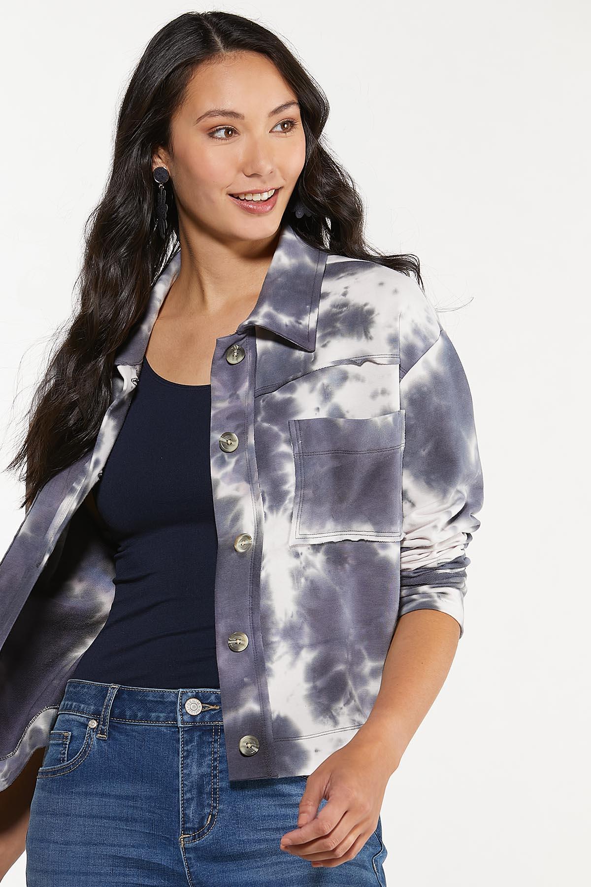 Plus Size Tie Dye French Terry Jacket (Item #44652361)