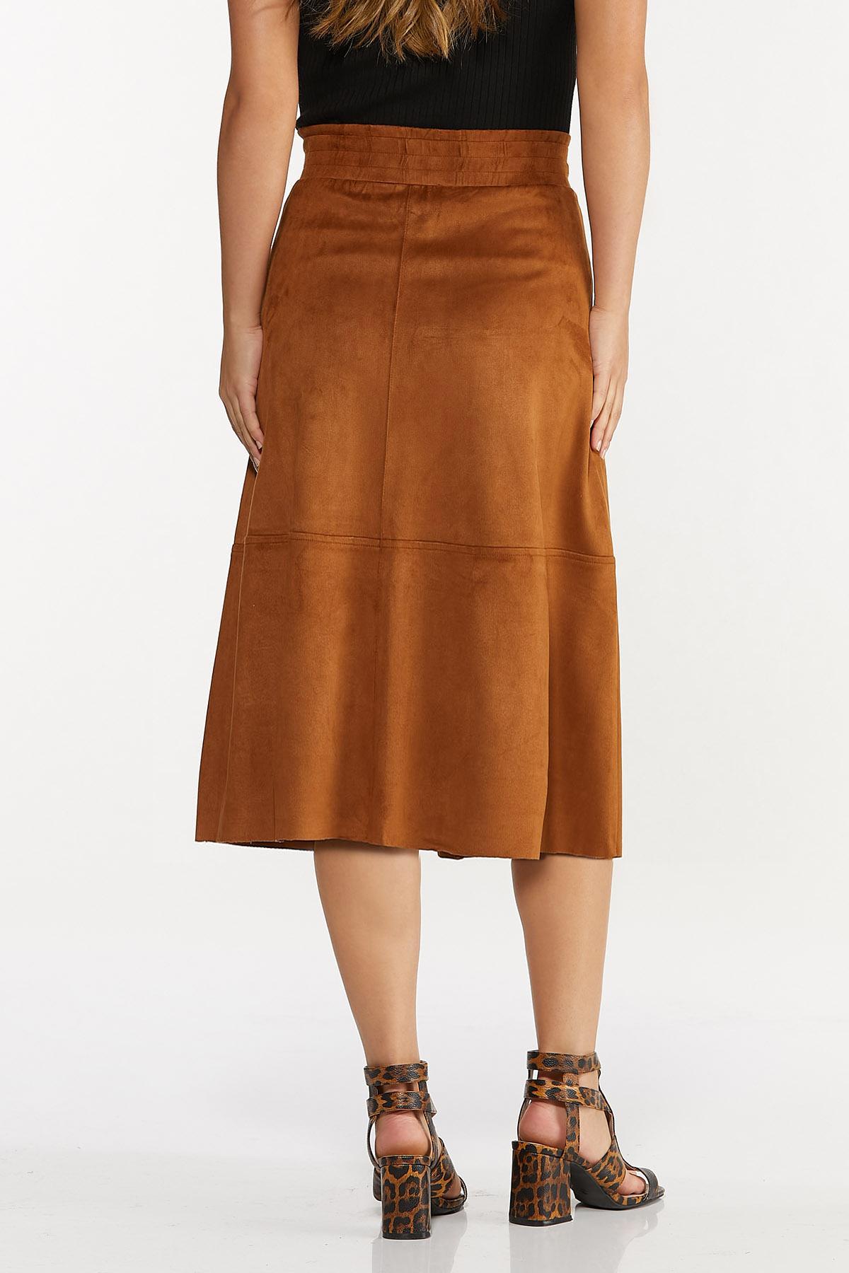 Plus Size Faux Suede Midi Skirt (Item #44652731)