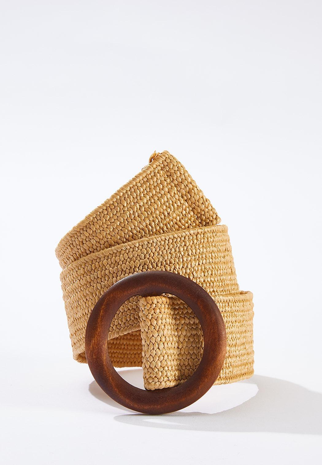 Plus Size Wood Buckle Stretch Belt (Item #44652800)