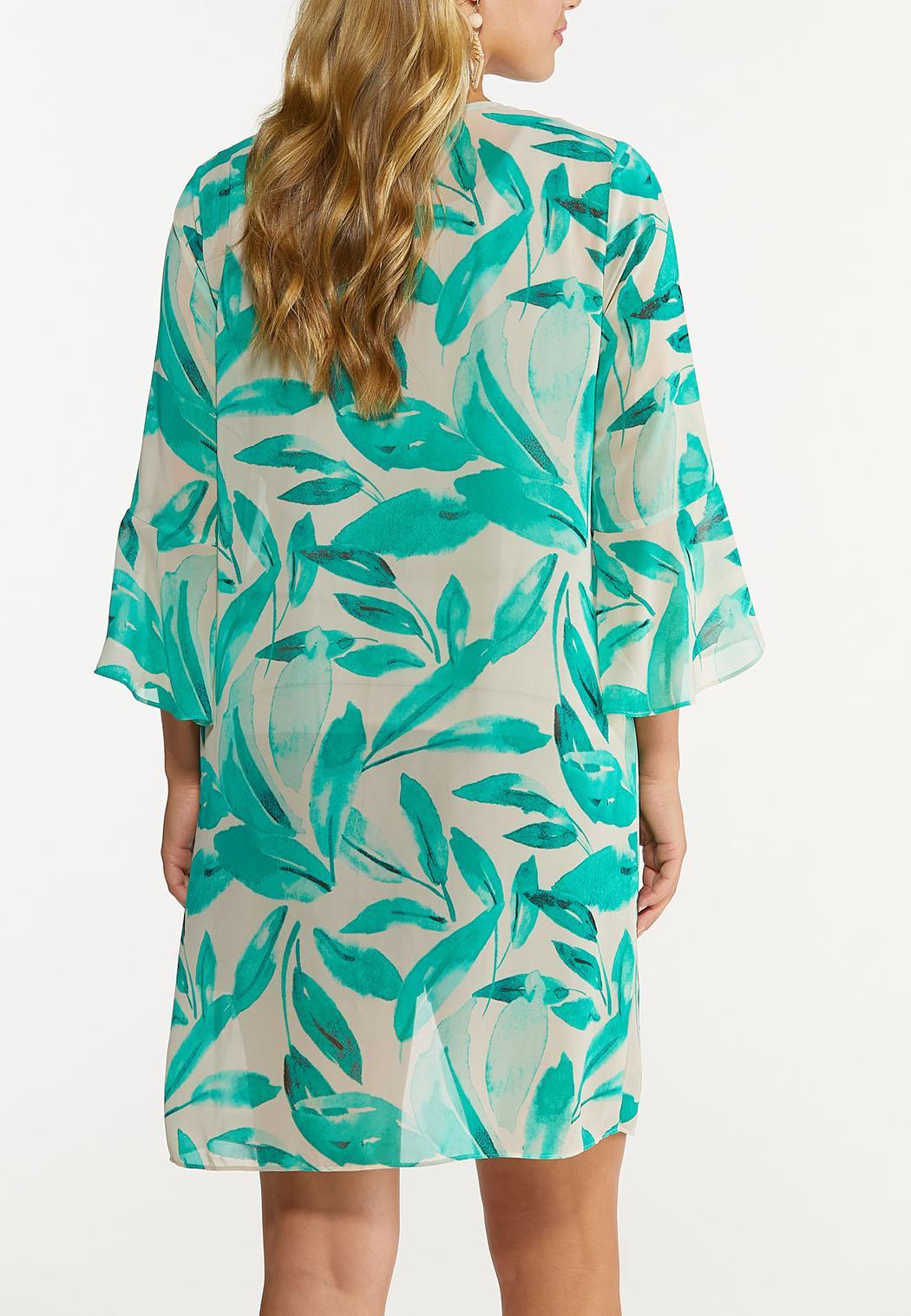 Plus Size Tropical Tie Front Kimono (Item #44653187)