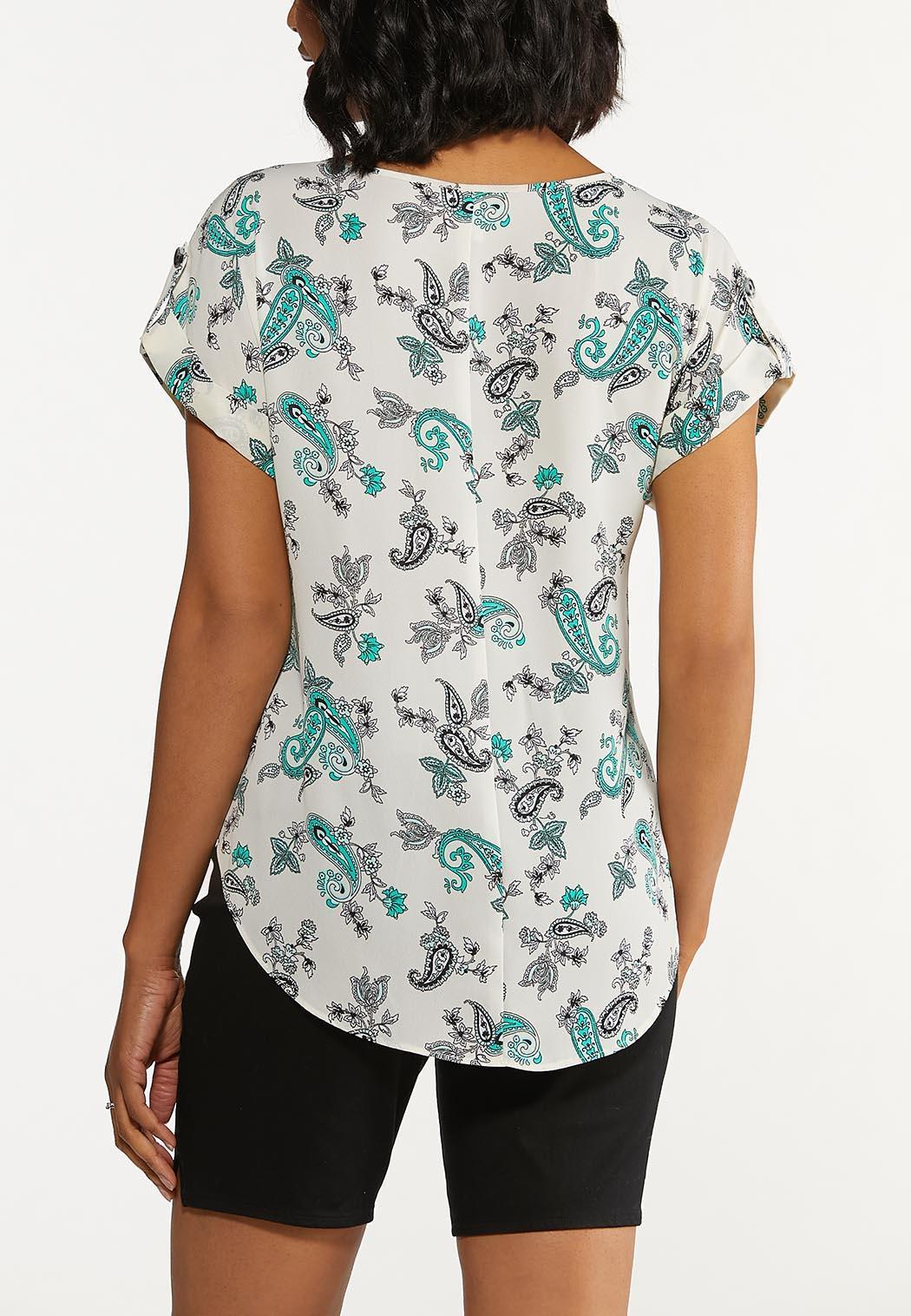 Plus Size Paisley Front Pocket Top (Item #44653540)