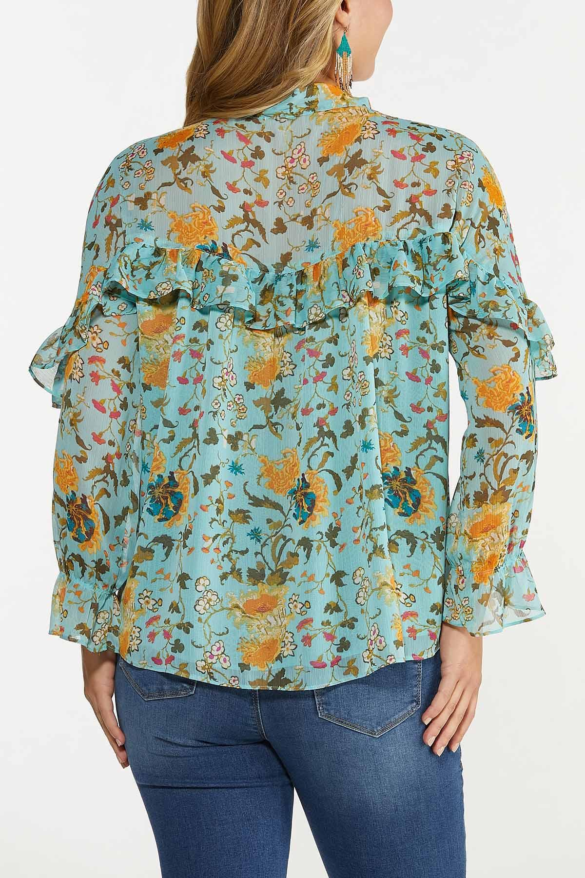 Plus Size Ruffled Teal Floral Top (Item #44653581)
