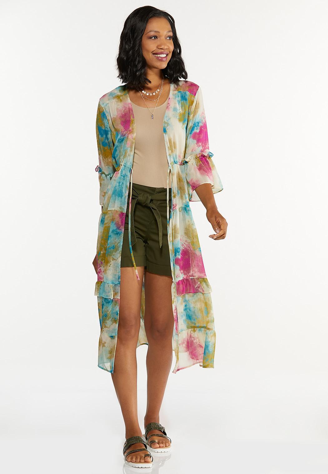 Plus Size Tiered Watercolor Kimono (Item #44653677)