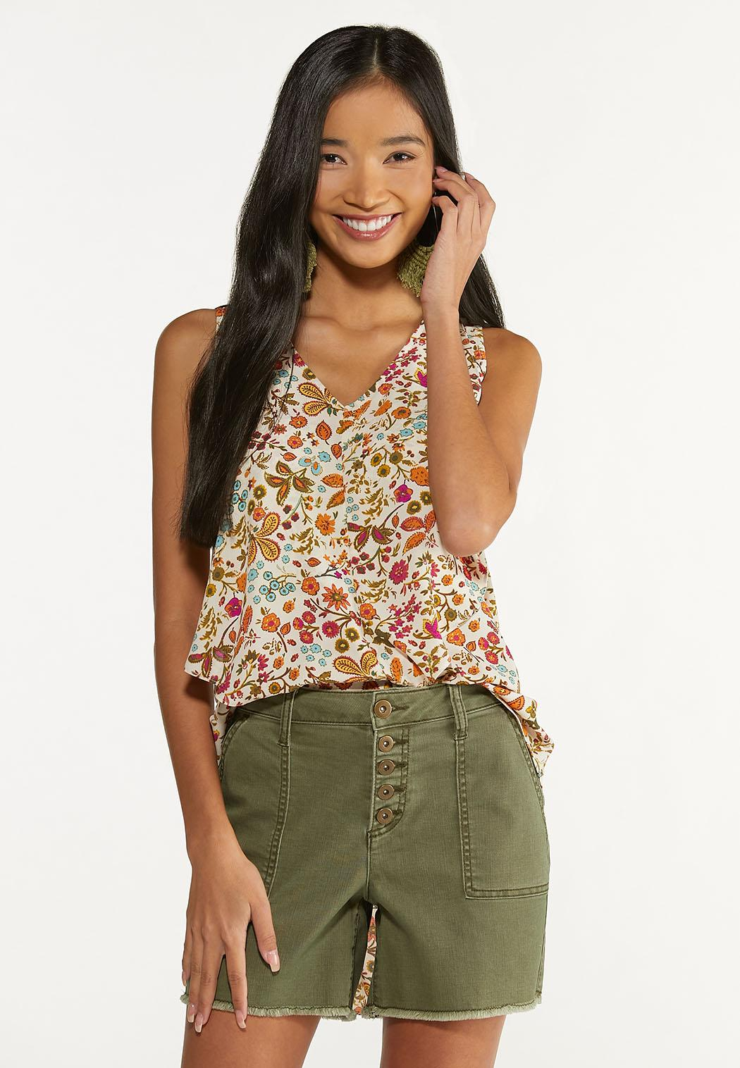 Plus Size Whimsical Floral Tank (Item #44653708)