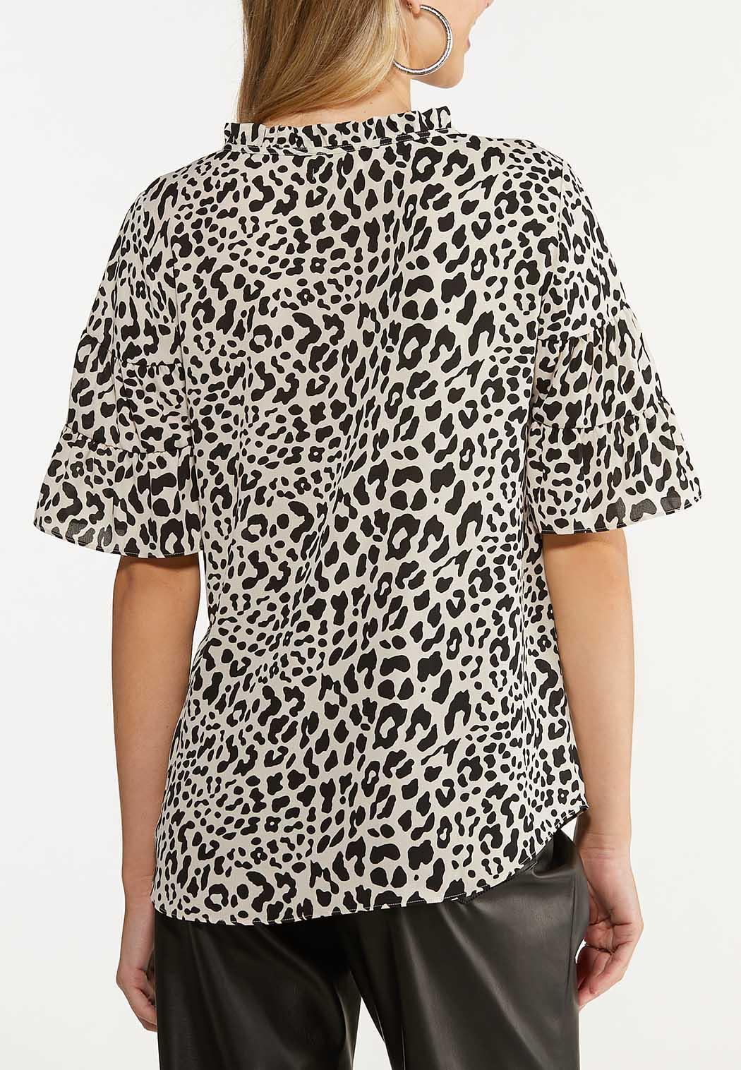 Plus Size Leopard Tiered Sleeve Top (Item #44653727)