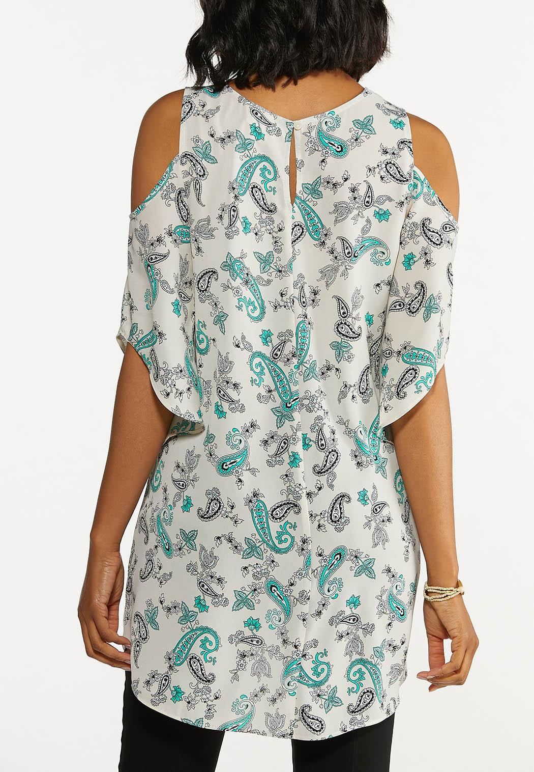 Plus Size Paisley Cold Shoulder Top (Item #44654064)