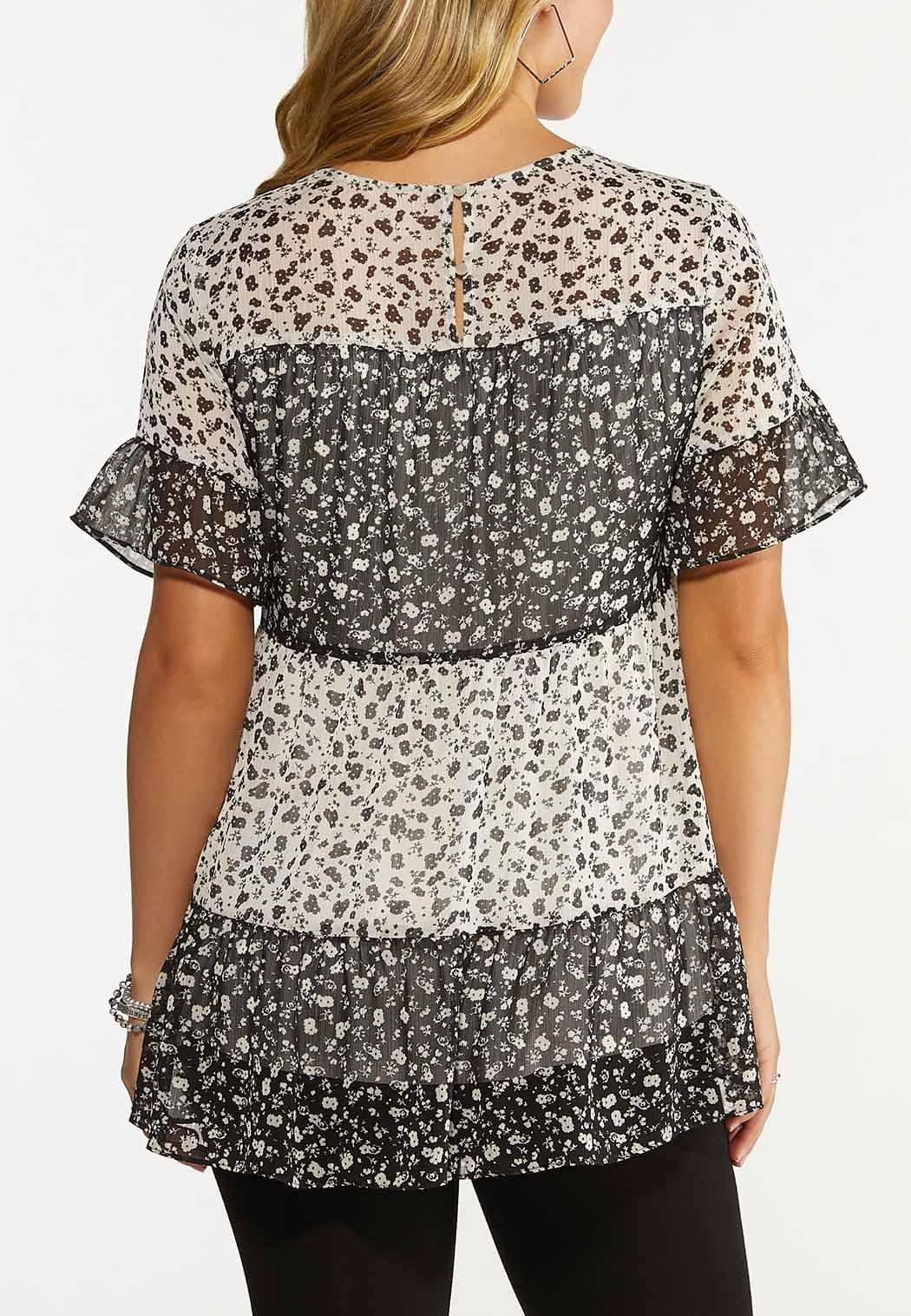 Plus Size Tiered Floral Top (Item #44654093)