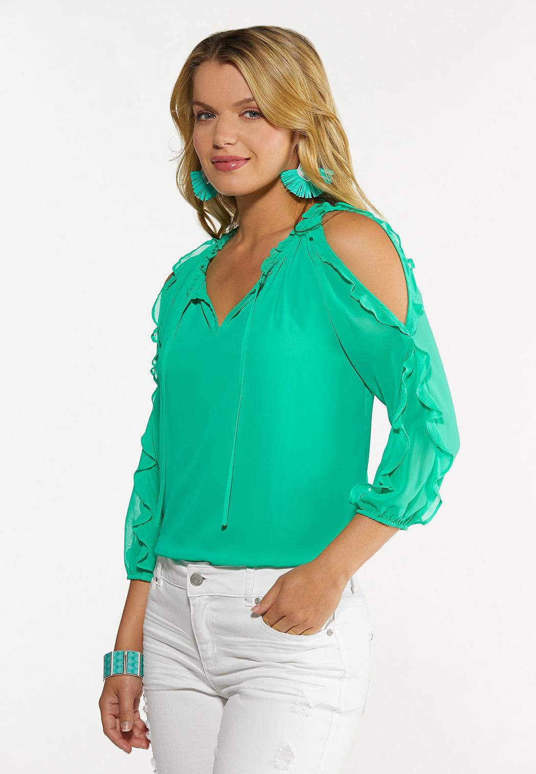 Plus Size Ruffled Sleeve Top (Item #44654324)