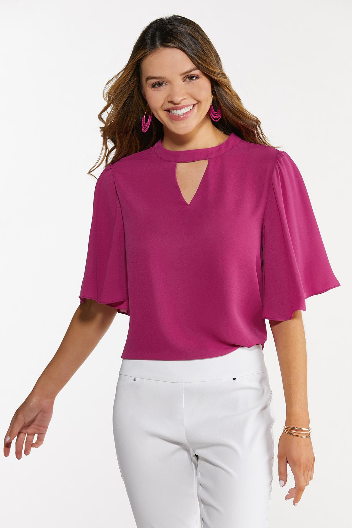 Plus Size Cutout Flutter Sleeve Top (Item #44654377)