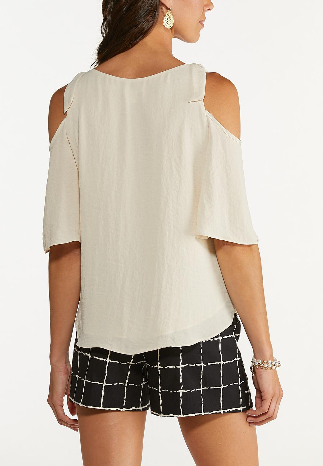 Plus Size Knotted Cold Shoulder Top (Item #44654411)